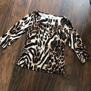 Carmen Marc Valvo animal print blouse top Medium
